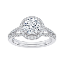 Load image into Gallery viewer, 14K White Gold Round Halo Diamond Engagement Ring with Split Shank (Semi Mount)