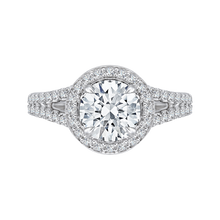 Load image into Gallery viewer, CA0093E-37W Bridal Jewelry Carizza White Gold Round Diamond Halo Engagement Rings