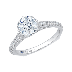 14K White Gold Round Diamond Engagement Ring with Euro Shank (Semi Mount)