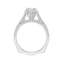 Load image into Gallery viewer, 14K White Gold Round Diamond Floral Engagement Ring with Euro Shank (Semi Mount)