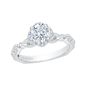 Round Diamond Engagement Ring In 14K White Gold (Semi Mount)