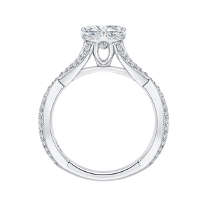 14K White Gold Split Shank Round Diamond Engagement Ring (Semi Mount)