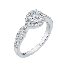 Load image into Gallery viewer, Round Diamond Engagement Ring In 14K White Gold with Split Shank (Semi Mount)