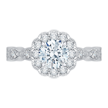 Load image into Gallery viewer, CA0113E-37W-1.00 Bridal Jewelry Carizza White Gold Round Diamond Halo Engagement Rings