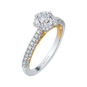 14K Two Tone Gold Round Diamond Engagement Ring (Semi Mount)