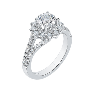 14K White Gold Round Diamond Halo Engagement Ring with Split Shank (Semi Mount)