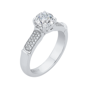Round Diamond Cathedral Style Engagement Ring In 14K White Gold (Semi Mount)