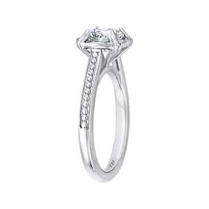 14K White Gold Round Diamond Halo Cathedral Style Engagement Ring (Semi Mount)