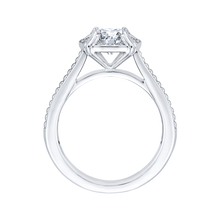 Load image into Gallery viewer, 14K White Gold Round Diamond Halo Cathedral Style Engagement Ring (Semi Mount)
