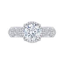Load image into Gallery viewer, CA0143EQ-37W Bridal Jewelry Carizza White Gold Round Diamond Halo Engagement Rings