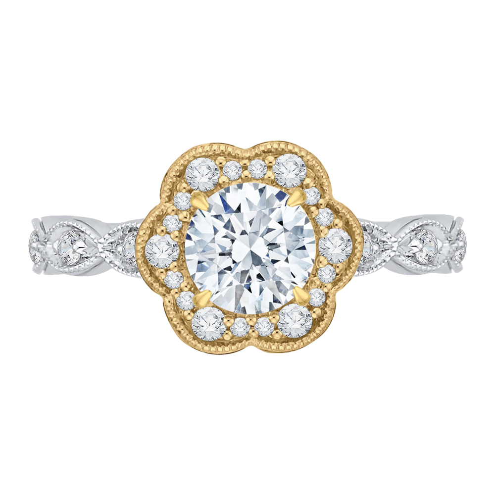 CA0150EQ-37WY Bridal Jewelry Carizza White Gold Rose Gold Yellow Gold Round Diamond Halo Engagement Rings
