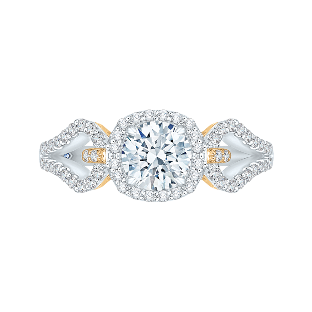 CA0155EH-37WY Bridal Jewelry Carizza White Gold Rose Gold Yellow Gold Round Diamond Halo Engagement Rings