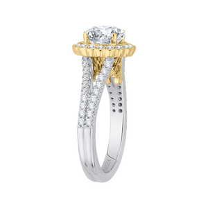 14K Two Tone Gold Round Diamond Halo Engagement Ring with Split Shank (Semi Mount)