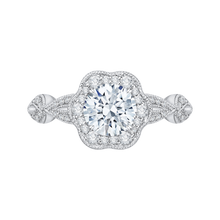 Load image into Gallery viewer, CA0160EQ-37W Bridal Jewelry Carizza White Gold Round Diamond Engagement Rings