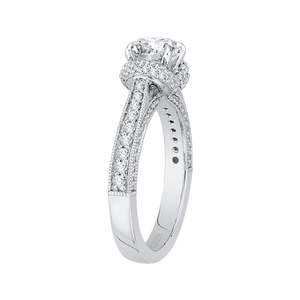 14K White Gold Round Diamond Cathedral Style Engagement Ring (Semi Mount)