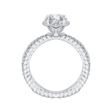 Load image into Gallery viewer, 14K White Gold Round Diamond Engagement Ring with Crossover Shank (Semi Mount)