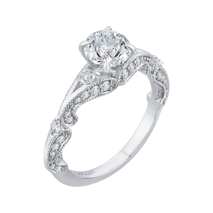14K White Gold Round Diamond Vintage Engagement Ring with Split Shank (Semi Mount)