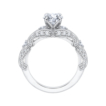 Load image into Gallery viewer, 14K White Gold Round Diamond Vintage Engagement Ring with Split Shank (Semi Mount)