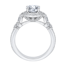 Load image into Gallery viewer, 14K White Gold Round Diamond Floral Halo Engagement Ring (Semi Mount)