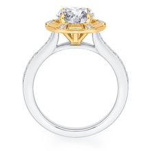 Load image into Gallery viewer, 14K Two Tone Gold Round Diamond Cathedral Style Engagement Ring (Semi Mount)