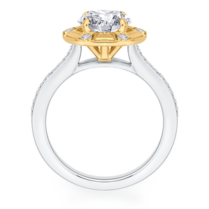 14K Two Tone Gold Round Diamond Cathedral Style Engagement Ring (Semi Mount)