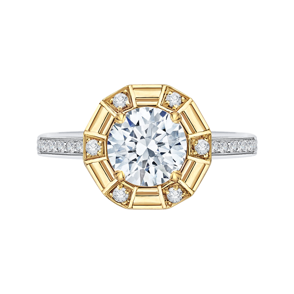 CA0182EH-37WY-1.50 Bridal Jewelry Carizza White Gold Rose Gold Yellow Gold Round Diamond Engagement Rings
