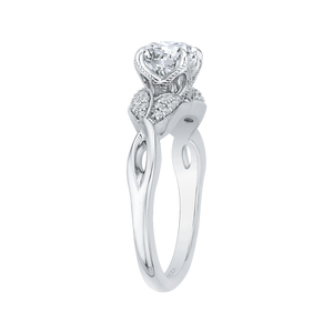 14K White Gold Round Diamond Floral Engagement Ring with Split Shank (Semi Mount)