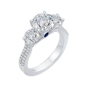 14K White Gold Round Cut Diamond Three Stone Cathedral Style Engagement Ring (Semi Mount)