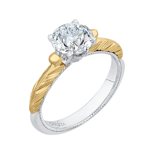 Round Cut Solitaire Diamond Vintage Engagement Ring In 14K Two Tone Gold (Semi Mount)