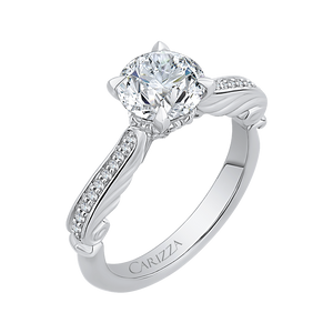 14K White Gold Round Diamond Engagement Ring (Semi Mount)