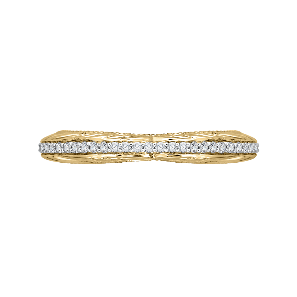 CA0203B-37WY-1.50 Bridal Jewelry Carizza White Gold Rose Gold Yellow Gold Round Diamond Wedding Bands