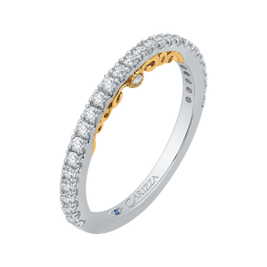 14K Two Tone Gold Round Cut Diamond Wedding Band