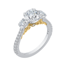 Load image into Gallery viewer, 14K Two Tone Gold Round Diamond Three Stone Engagement Ring (Semi Mount)