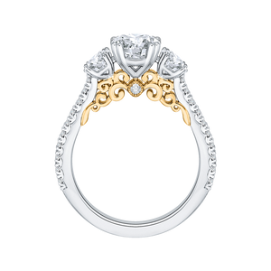 14K Two Tone Gold Round Diamond Three Stone Engagement Ring (Semi Mount)