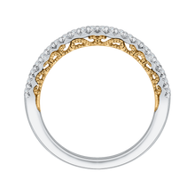 Load image into Gallery viewer, 14K Two Tone Gold Round Diamond Half Eternity Wedding Band