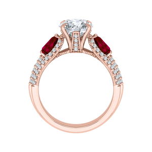 14K Rose Gold Round Diamond and Ruby Engagement Ring (Semi Mount)