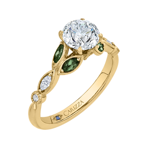 14K Yellow Gold Round Diamond and Green Tsavorite Engagement Ring (Semi Mount)