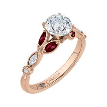 Load image into Gallery viewer, 14K Rose Gold Round Diamond and Ruby Engagement Ring (Semi Mount)