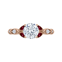 Load image into Gallery viewer, CA0212E-R37P Bridal Jewelry Carizza Rose Gold Round Diamond Engagement Rings