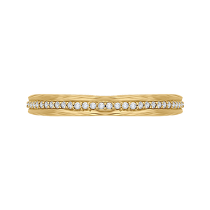 CA0216B-37-1.50 Bridal Jewelry Carizza Yellow Gold Round Diamond Wedding Bands