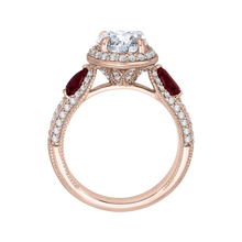 Load image into Gallery viewer, Round Diamond and Ruby Engagement Ring In 14K Rose Gold (Semi Mount)