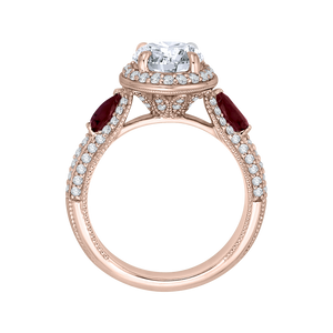 Round Diamond and Ruby Engagement Ring In 14K Rose Gold (Semi Mount)