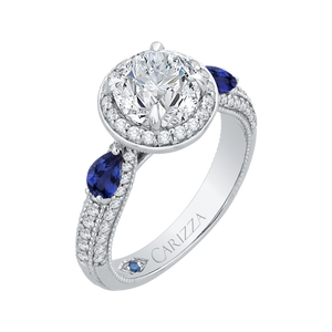 14K White Gold Round Diamond Halo Engagement Ring with Sapphire (Semi Mount)