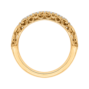 14K Yellow Gold Round Diamond Wedding Band