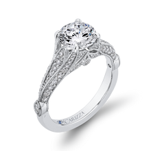Load image into Gallery viewer, Round Cut Diamond Vintage Engagement Ring In 14K White Gold (Semi Mount)