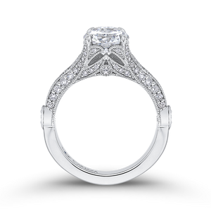 Round Cut Diamond Vintage Engagement Ring In 14K White Gold (Semi Mount)