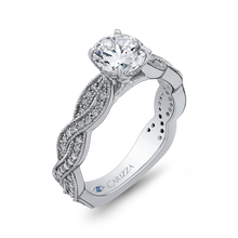 Load image into Gallery viewer, 14K White Gold Round Diamond Floral Engagement Ring with Criss Cross Shank (Semi Mount)
