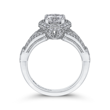 Load image into Gallery viewer, 14K White Gold Round Diamond Floral Halo Engagement Ring with Split Shank (Semi Mount)