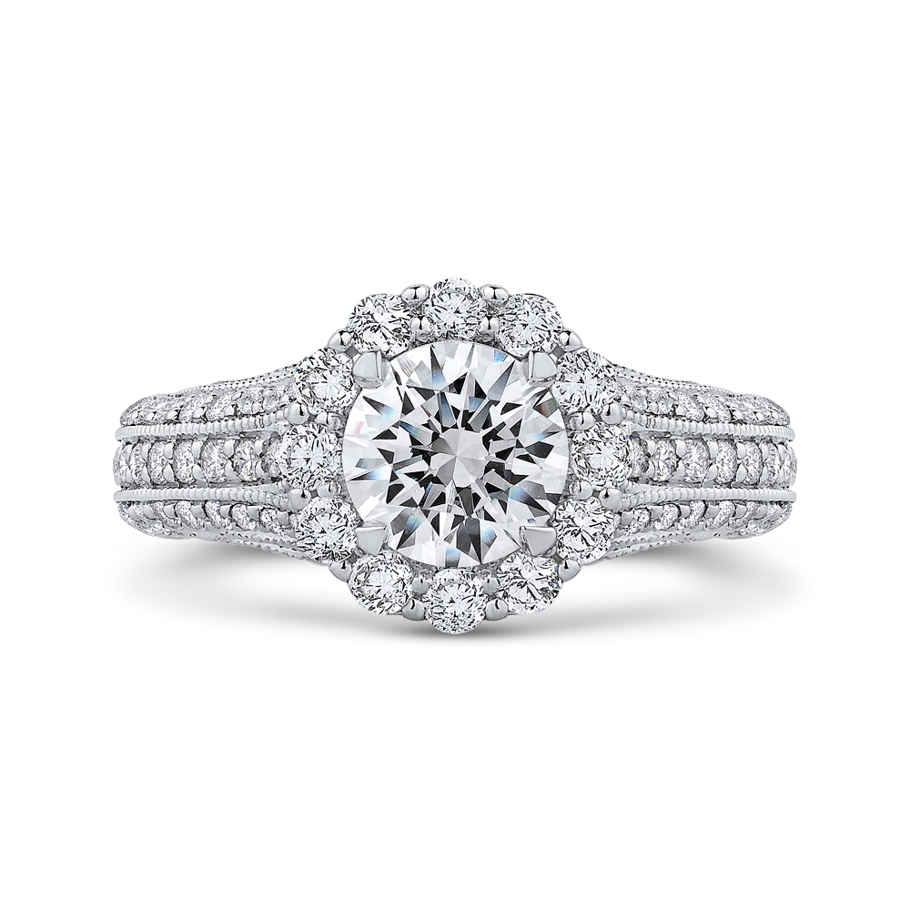 CA0237E-37W-1.00 Bridal Jewelry Carizza White Gold Round Diamond Halo Engagement Rings