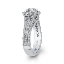 Load image into Gallery viewer, Round Diamond Halo Engagement Ring with Split Shank In 14K White Gold (Semi Mount)